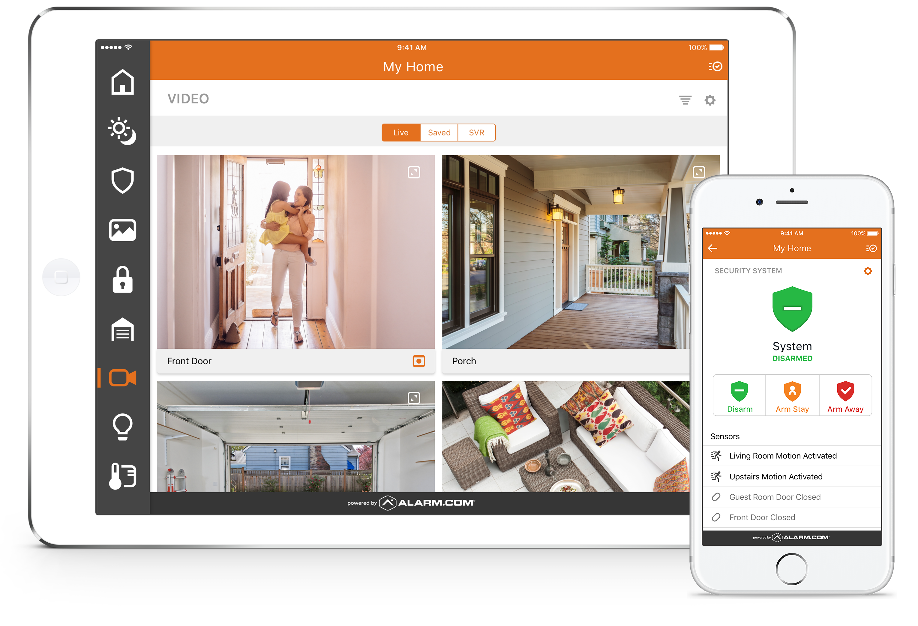 Smarter Home Security App Displayed on ipad and iphone